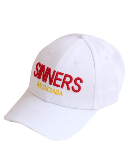 Balenciaga White 'Sinners' Embroidered Cotton twill Baseball Cap