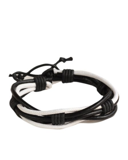 Jstarmart Black Black White Leather Wrist Band With Set Of Two Wrist Bands