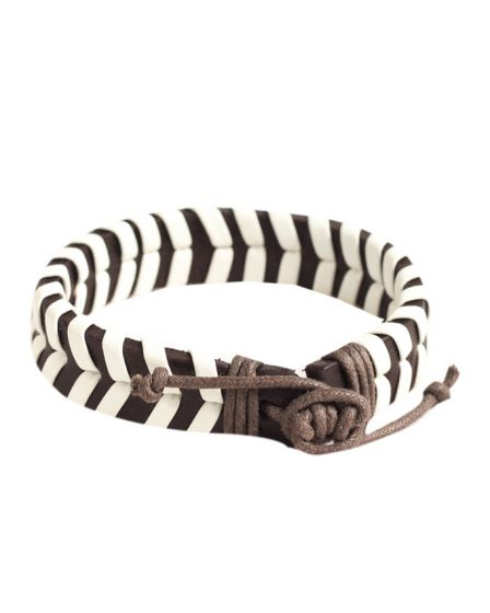 Classics 77 Plaited Bracelet In Brown and white
