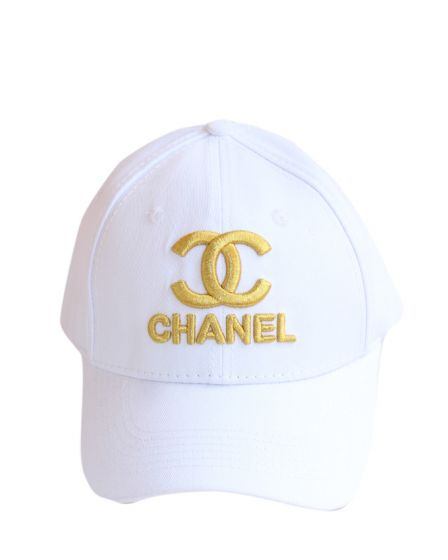 Chanel Gold Embroidered Baseball Cap White