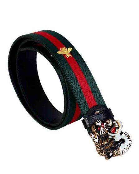 Gucci Web Bee Print With Tiger Buckle Green/Red