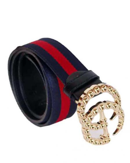 Gucci Faux-Pearl Embellished Web Belt Navyblue and Red