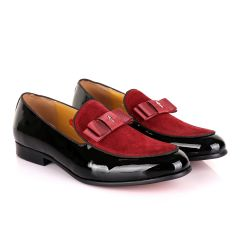 John Mendson Black Patent Bow With Wine Suede Loafers