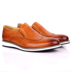 CK Classic  Brown Perforated Brogue With White Designed Sole Shoe