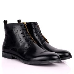 Renato Dulbecc High Ankle Perforated Lace Up Black Formal Shoe