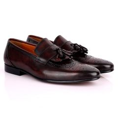 Gian Classic Tassel And Croc Designed Leather Shoe - Coffee