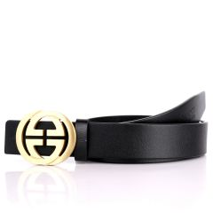 GC Round Edge Plaque Buckle Belt-Black