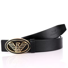 Giorgio Armani Golden Eagle In Oval Logo Genuine  Leather Black Belt