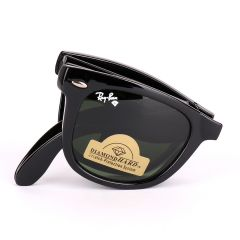 Ray-Ban 4105 Foldable Wayfarer Black With Green Lens Sunglasses