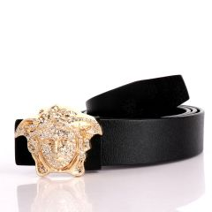 Authentic Versace Medusa Swarovski Gold Crystal Genuine Leather Black Belt