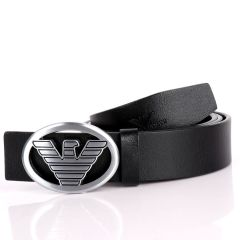 Giorgio Armani Silver Eagle In Oval Logo Genuine  Leather Black Belt