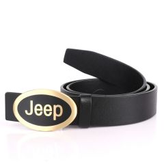 Jeep Men's Black Genuine Leather Black Belt