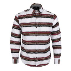 Bajieli Executive White With Wine, Brown, And Black Colored LongSleeve Shirt