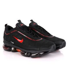 NK Max Black Sneakers With Tuned Pressure Sole And Red Logo Design