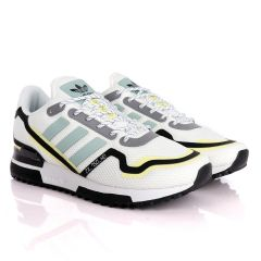 Adidas ZX 750 HD White Sneakers With Classic Yellow And Celeste Green Designs