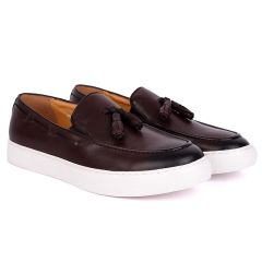 Terry Taylors Tassel With Side Lace Designed Brown Leather Sneaker Shoe