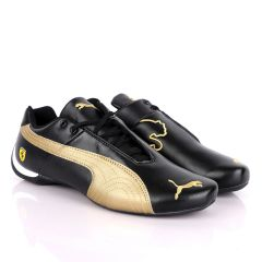 Puma Future Cat Black And Gold Leather Sneakers