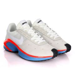 NK D/MS/X Waffle Beige Sneakers With Classic Red And Blue Designs