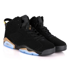 Original Air Jordan 6 Retro Black Suede Sneakers With Classic Gold And Blue Designs