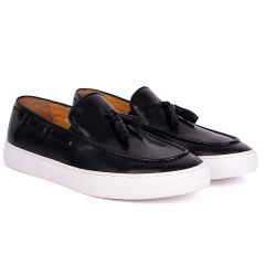 Terry Taylors Tassel With Side Lace Designed Black Leather Sneaker Shoe