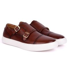 Taylors Double Monk Strap Exotic Leather Sneaker Shoe- Brown