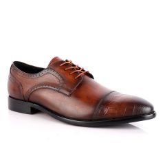 Roberto Botticelli Coffee Croc Derby Lace Up Brogue Shoe