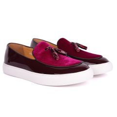 Terry Taylors Tassel Designed Half Suede And Glossy Leather Men's Sneaker Shoe- Purple