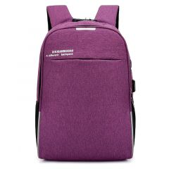 Super Smart Anti-Theft Security Lock BackPack With USB Charging Port- Purple