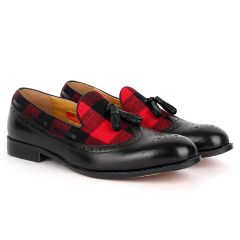 John Foster Exquisite Black Shoe With Perforated Design And Red Designed Surface