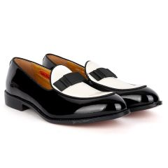 John Foster Classy Glossy Black And White Leather Shoe