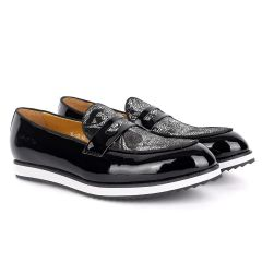 John Foster Classic Black Glossy And Maceron Leather Shoe