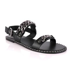 Giuseppe Zanotti Triple Chain Leather Sandals - Black