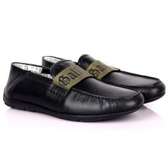 John Galliano Exquisite Green Branded Belted Leather Shoe - Black