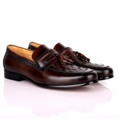 Gian Elegant Checkers And Fringe Designed Loafers Shoe - Coffee