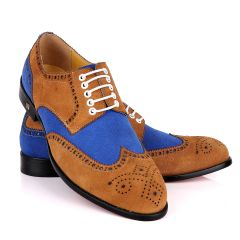 John Foster Brown Blue Suede Brogues Shoe