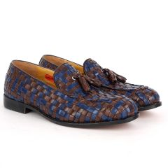 John Foster Classic Mat Patterned Coffee And Blue Leather Shoe