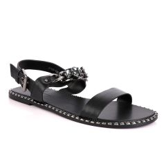 Giuseppe Zanotti Black Chain With Stone Design  Leather Sandal