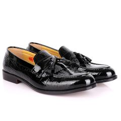 John Foster Crocodile Design Wetlips Leather Fringe And Tassel Shoe-Black