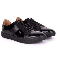 Terry Taylors Exotic Glossy And Plain Leather Men's Sneaker Shoe- Black
