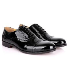 John Foster Classic Wetlooks Leather Premium Brogues- Black