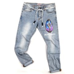 Authentic Men's Denim With Palm Angels Back Print Jeans- Blue