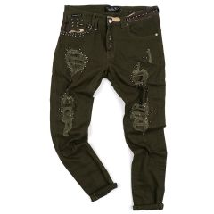 PP Men's Straight Cut Camo Inspired Distressed Jeans- Green