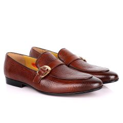 John Foster Cro Skin Single  Belt Designed  Loafers-Brown