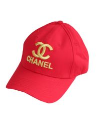 Chanel Gold Embroidered Baseball Cap Red