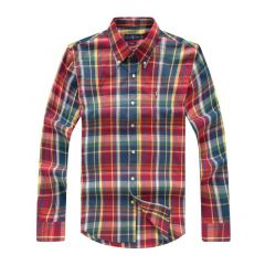 PRL The Iconic Oxford Button Down Long Sleeve Shirt-Red