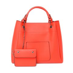 Prolific Colourful  3 in 1 Genuine Leather Women Red Handbags
