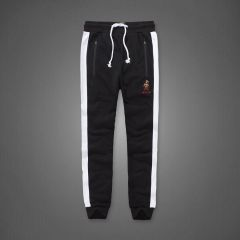 A&F Embroidered Bear Logo Designed Black And White Joggers