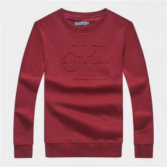Calvin Klein Logo-Embroidered Crew Neck Sweat Shirt- Red
