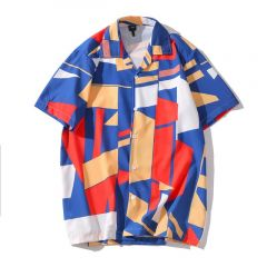 Hawaiian Short Sleeves Mixed Print Casual Men's Shirt
