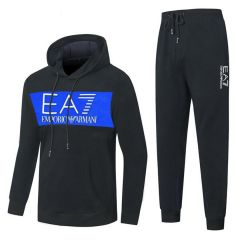 Emporio Armani Block Logo Men's Tracksuit With Hoodie- Black